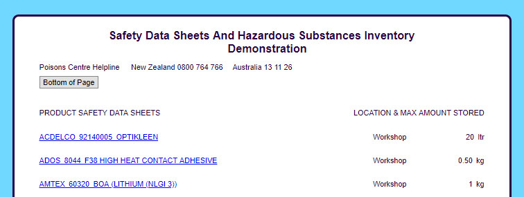 Safety Data Sheets And Hazardous Substances Inventory - EsySDS